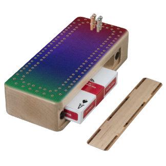 Rainbow Stockinette Wood Cribbage Board