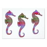 """Rainbow Stone Seahorses 5"""" X 7"""" Invitation Card"""