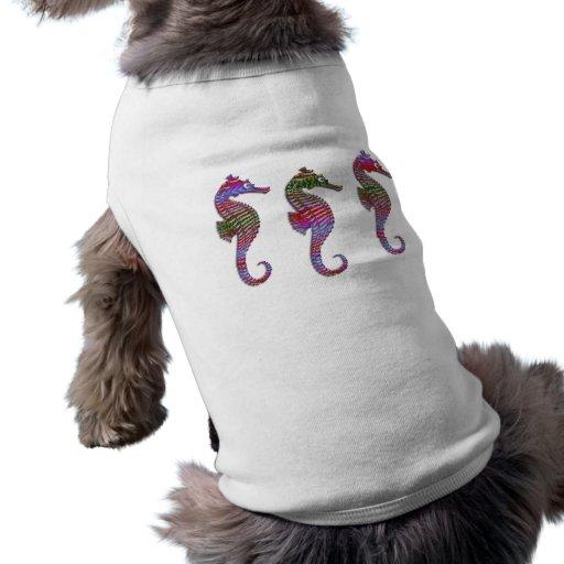 Rainbow Stone Seahorses Dog T-shirt