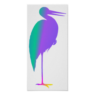 Rainbow Stork Poster