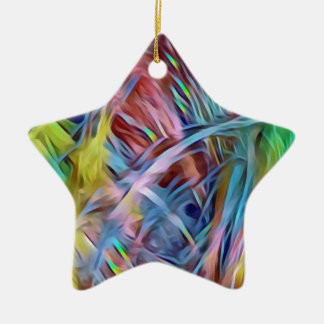 Rainbow Strands of Hair Abstract Art Ceramic Ornament