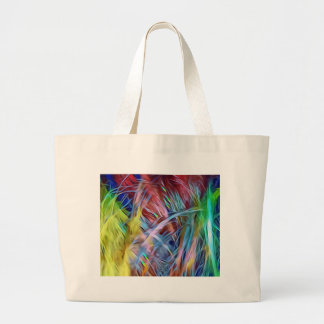 Rainbow Strands of Hair Abstract Art Large Tote Bag