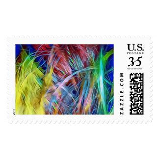 Rainbow Strands of Hair Abstract Art Postage
