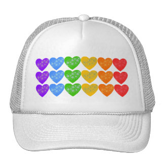 Rainbow String of Hearts with Stars Trucker Hat