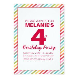 "Rainbow Stripe Birthday Invitation 5"" X 7"" Invitation Card"