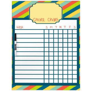 Rainbow Stripe Chore Chart Dry Erase Board