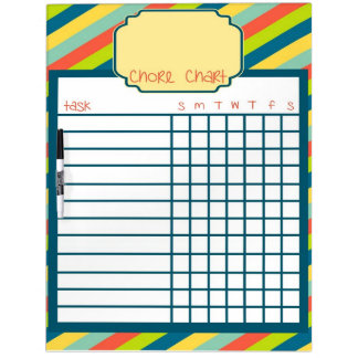 Rainbow Stripe Chore Chart Dry Erase Whiteboard