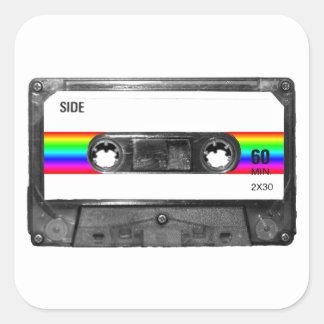 Rainbow Stripe Label Cassette Sticker