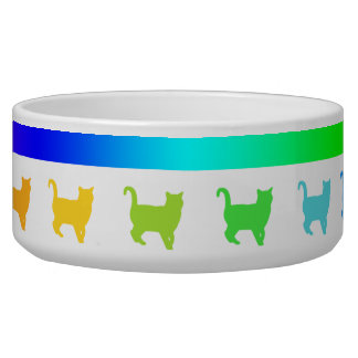 Rainbow Stripe LGBT Cat/Kitten Silhouette Bowl
