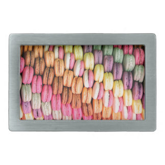 Rainbow Stripe of Stacked French Macaron Cookies Belt Buckle