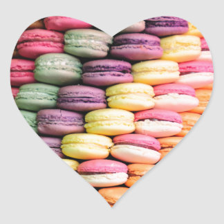 Rainbow Stripe of Stacked French Macaron Cookies Heart Sticker