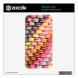 Rainbow Stripe of Stacked French Macaron Cookies iPhone 4 Decals