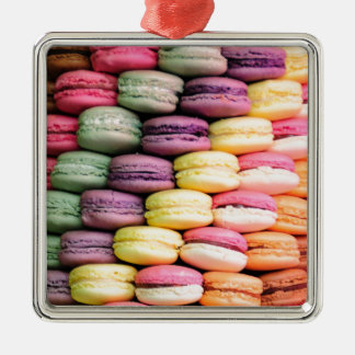 Rainbow Stripe of Stacked French Macaron Cookies Metal Ornament