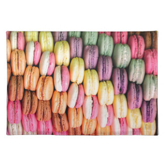 Rainbow Stripe of Stacked French Macaron Cookies Placemat