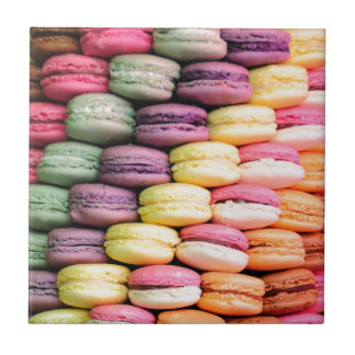 Rainbow Stripe of Stacked French Macaron Cookies Tile