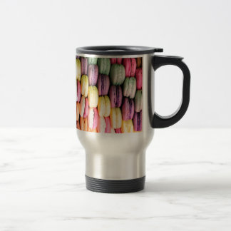 Rainbow Stripe of Stacked French Macaron Cookies Travel Mug