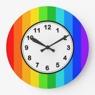 Rainbow Stripe Pattern #2 Large Clock