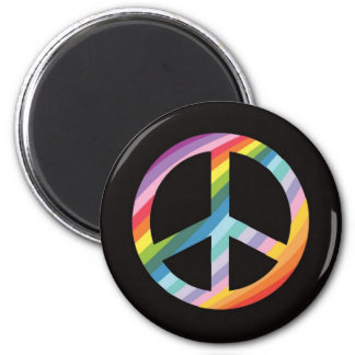 Rainbow Stripe Peace Symbol (2).png Refrigerator Magnet