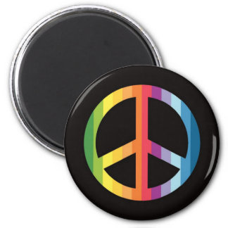Rainbow Stripe Peace Symbol.png Magnets