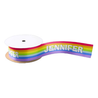 Rainbow stripe personalized name ribbon satin ribbon