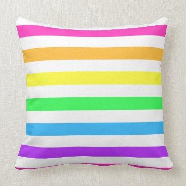 Beach Themed Rainbow Stripe Throw Pillow