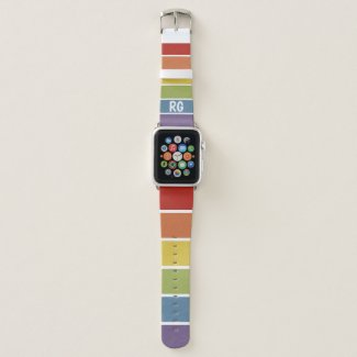 Rainbow Striped Pattern LGBT Retro Monogrammed Apple Watch Band