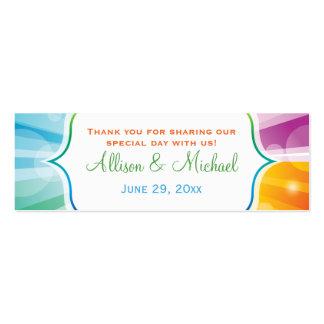 Rainbow Striped Sunburst Wedding Favor Tag Mini Business Card
