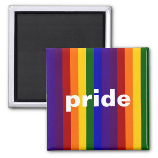 Rainbow Stripes 2 Inch Square Magnet