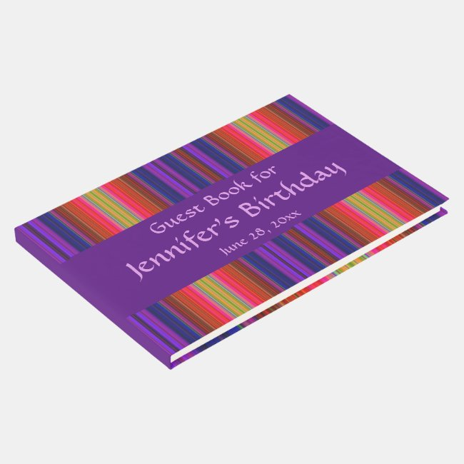 Rainbow Stripes Abstract Birthday Party Guest Book