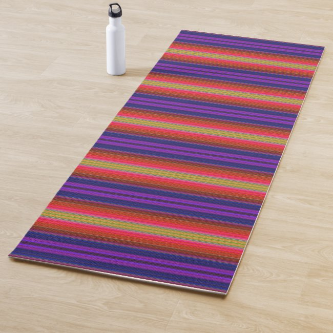 Rainbow Stripes Abstract Pattern Yoga Mat