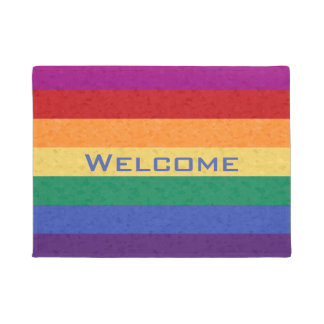 Rainbow Stripes and Abstract Pattern Doormat