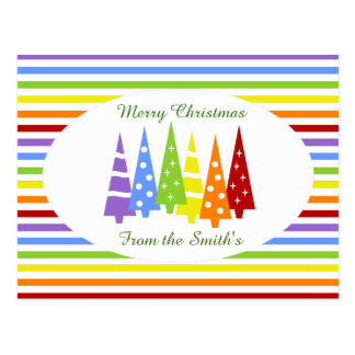Rainbow Stripes and Christmas Trees Postcard