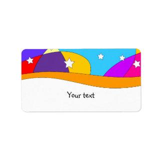 Rainbow stripes and sta design custom address labels