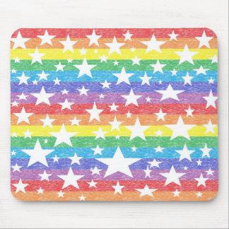 Rainbow Stripes and Stars Mousepad