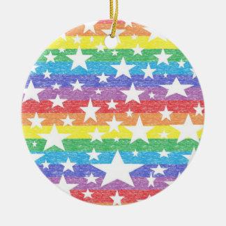 Rainbow Stripes and Stars Ornament