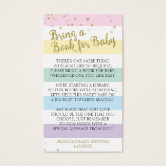 Rainbow Stripes Baby Shower Bring a Book Insert