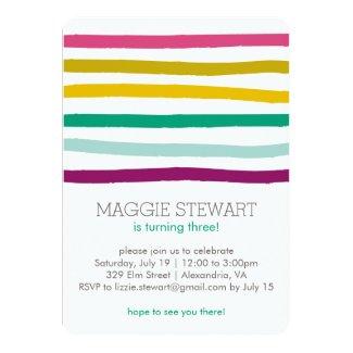 Rainbow Stripes Birthday Invitation