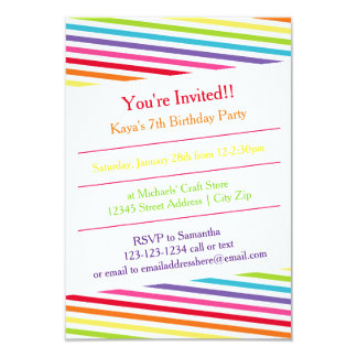 Rainbow Stripes Birthday Party - 3x5 Invitation
