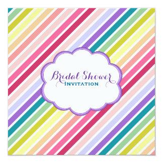 Rainbow Stripes Bridal Shower 5.25x5.25 Square Paper Invitation Card