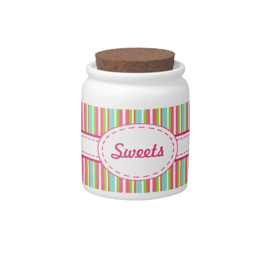 Rainbow Stripes Candy Jar