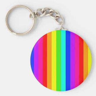 rainbow stripes colorful bars basic round button keychain