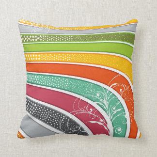 Rainbow Stripes Colorful Flourish Stars Cushion