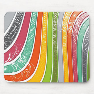 Rainbow Stripes Colorful Flourish Stars Mouse Pad