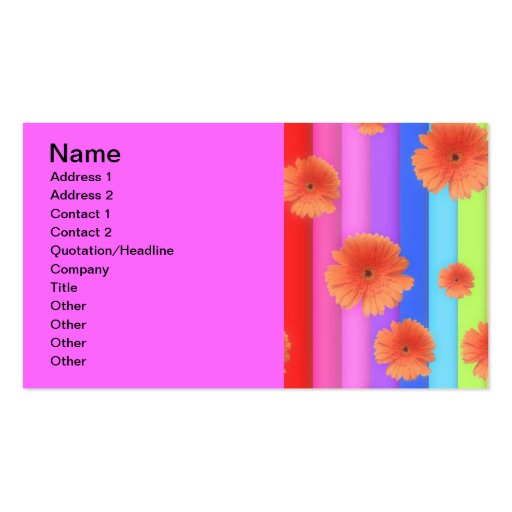 RAINBOW STRIPES COLORFUL FLOWERS GIRLY GRAPHICS BA BUSINESS CARD TEMPLATE