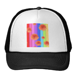 RAINBOW STRIPES COLORFUL FLOWERS GIRLY GRAPHICS BA TRUCKER HAT