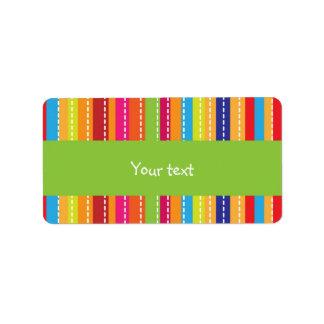 Rainbow stripes design personalized address label