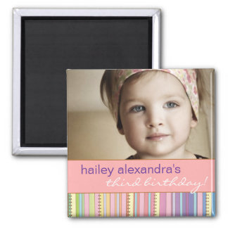 Rainbow Stripes & Dots Birthday Photo Magnet
