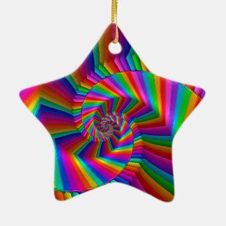 Rainbow Stripes Fractal Spiral Ornament
