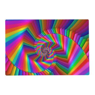 Rainbow Stripes Fractal Spiral Placemat