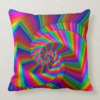 Rainbow Stripes Fractal Spiral Throw Pillow